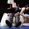 "Newburyport: Conor Moroney and Ashley Risteen in a scene from ""The 39 Steps."" Bryan Eaton/Staff Photo"