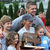 JIM VAIKNORAS/Staff photo Newburyport girls lacrosse Coach Catherine Batchelder and her family.