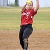 JIM VAIKNORAS/Staff photo Amesbury pitcher Hayley Catania against Mount Alvernia at Chris Perry Field in Amesbury Sunday. The Indian's won the game 9-2.