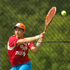 BRYAN EATON/Staff Photo. Amesbury's Matt Bellino in first singles action with Weston.