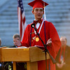 JIM VAIKNORAS/Staff photo Spencer Moavenzadeh gives the Salutatorian address at Amesbury high graduation at Landry Stadium Friday night.