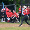 JIM VAIKNORAS/Staff photo Amesbury's Adrienne Harris homers against Mount Alvernia at Chris Perry Field in Amesbury Sunday. The Indian's won the game 9-2.