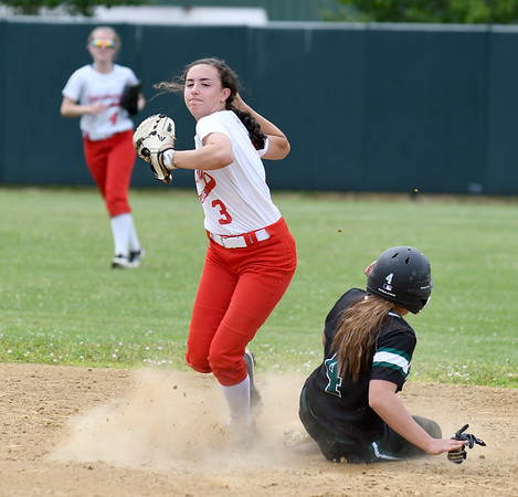 JIM VAIKNORAS/Staff photo Amesbury's Emma DiPiertro turns to throw to first against Austin Prep at Martin Field in Lowell Saturday. The Indians fell to Austin Prep 3-0.
