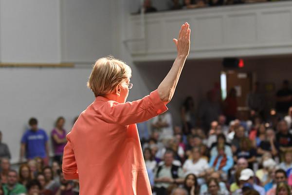 JIM VAIKNORAS/Staff photo Senator Elizabeth Warren speaks at Newburyport High School Saturday morning.