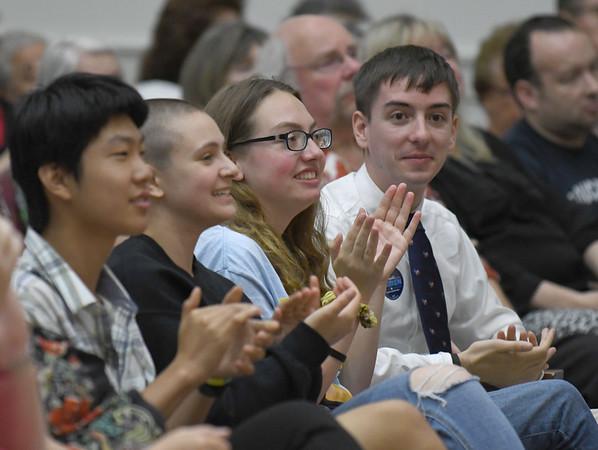 JIM VAIKNORAS/Staff photo Students applaud as Senator Elizabeth Warren speaks at Newburyport High School Saturday morning.