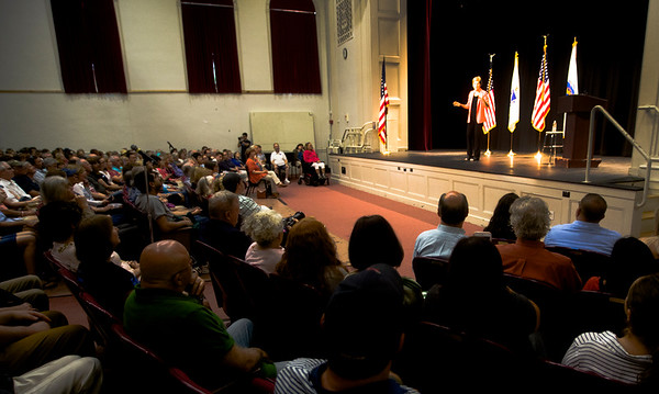 JIM VAIKNORAS/Staff photo Senator Elizabeth Warren speaks at Newburyport High School Saturday morning.