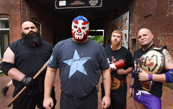 BRYAN EATON/Staff photo. Atlantic Pro Wrestling is coming to Amesbury Days this weekend with, from left, Mr. Bugsy Stone, Jake Sargeant, Matt Louden and Champagne Joe Moakley.