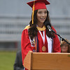 JIM VAIKNORAS/Staff photo Amesbury Salutatorian Isabel Allain speaks at graduation Friday night at Landry Stadium.