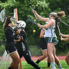 BRYAN EATON/Staff photo. Pentucket's Caleigh Beaton falls short of a goal on this attempt against Shawsheen.