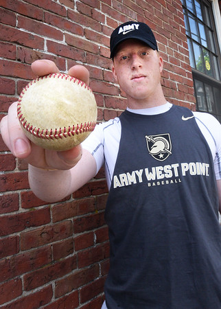 BRYAN EATON/Staff photo. Blake Bennett is a pitcher for the Amesbury baseball team who recently committed to play Division 1 baseball at Army West Point. He just wrapped up his junior year and will have one more year of high school before playing in college and most likely going into the military after that.