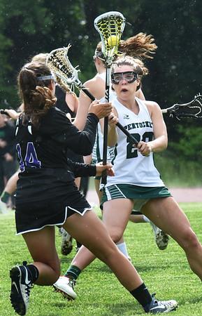 BRYAN EATON/Staff photo. Angelina Yacubacci gets in the way of a Shawsheen player.