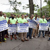 BRYAN EATON/Staff photo. About 40 union members at National Grid picketed after they were locked out of the North Hunt Road facility, with fellow union members in Haverhill following suit.