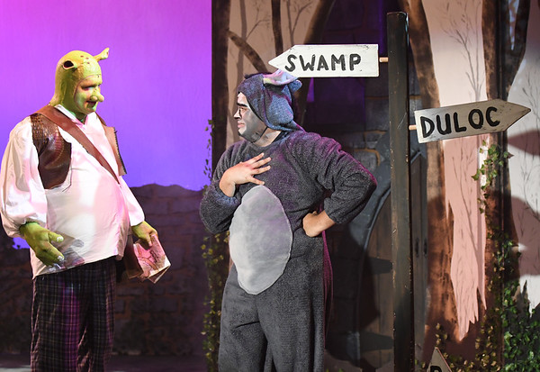 "JIM VAIKNORAS/Staff photo James Turner of Hamilton as Shrek and Cristian Ramos of Methuen as Donkey in the Firehouse production of ""Shrek The Musical""."