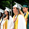 JIM VAIKNORAS/Staff photo Pentucket Class Secretary Ellison Seymour leads Pledge of Allegiance at the commencement at the school Saturday morning.