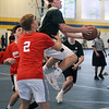 CARL RUSSO/staff photo. NEWBURYPORT NEWS: Pentucket's Gus Flaherty sails to the hoop against Pinkerton's Andy MacDonald. Pentucket defeated Pinkerton in boys Hoops for Hope action Thursday night. 6/21/2018