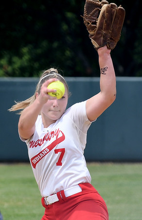 JIM VAIKNORAS/Staff photo Amesbury's Hayley Catania pitches against Austin Prep at Martin Field in Lowell Saturday. The Indians fell to Austin Prep 3-0.