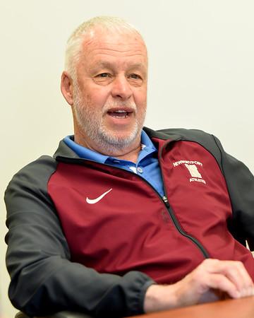 BRYAN EATON/Staff photo. Retiring Newburyport High School principal Michael Parent reflects on his 11 years there.