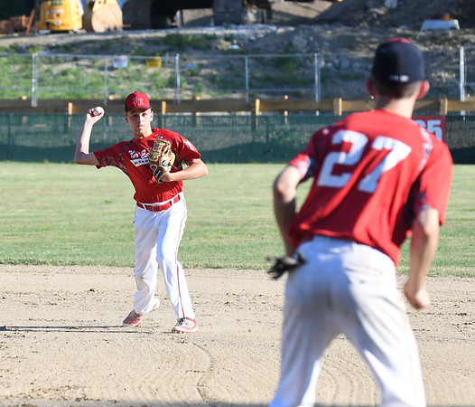 JIM VAIKNORAS/Staff photo Nor'Easter player Derek Doherty throws out a runner against Peabody /Middleton at Eiras Field in Rowley Friday.