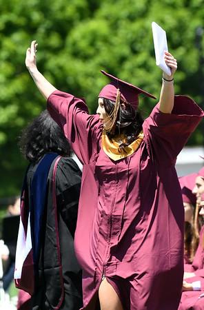 JIM VAIKNORAS/Staff photo Graduate <br /> Jessica Puleo celebrates getting her diploma at World War Memorial Stadium in Newburyport Sunday.