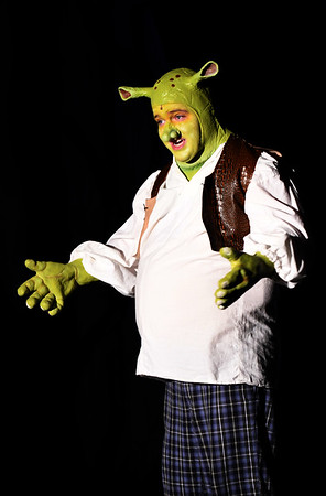"JIM VAIKNORAS/Staff photo James Turner of Hamilton as Shrek in the Firehouse production of ""Shrek The Musical""."