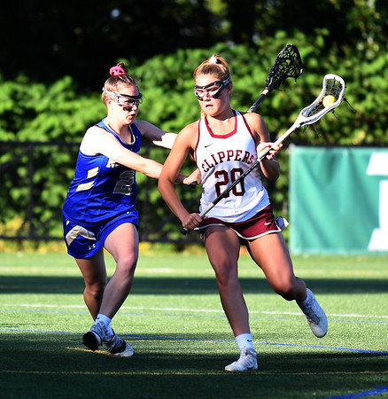 JIM VAIKNORAS/Staff photo Newburyport's Maggie Pons makes a move during the Clippers 14-11 loss to Norwell in the State semi-final game at Babson College Tuesday night.