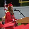 JIM VAIKNORAS/Staff photo Amesbury Valedictorian Emma O'Neill speaks at graduation Friday night at Landry Stadium.