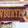 JIM VAIKNORAS/Staff photo Newburyport Salutatorian Molly Laliberty gives her address at World War Memorial Stadium in Newburyport Sunday.
