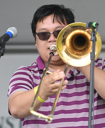 JIM VAIKNORAS/Staff photo Ed Goroza performs with Lux The Band at the Byfield Music and Arts Festival Saturday.