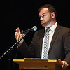 """BRYAN EATON/Staff photo. David Lakeman, director of goverment affairs of the Cannabis Control Commission, speaks at a community forum on marijuana retail, discussing the potential options Newburyport has in terms of """"pot shops."""""""