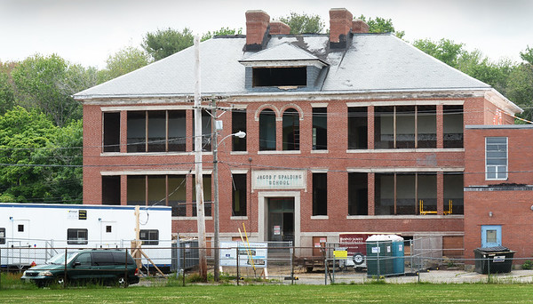 BRYAN EATON/Staff photo. The Jacob F. Spalding School in Salisbury, which was built around 1920 and named after the preacher, who later became a physician, in a view from Salisbury Square. The building is being renovated into affordable housing by the Newburyport YWCA with an additional building to be constructed to the left, on the old playground, with the two buildings containing 26 units.