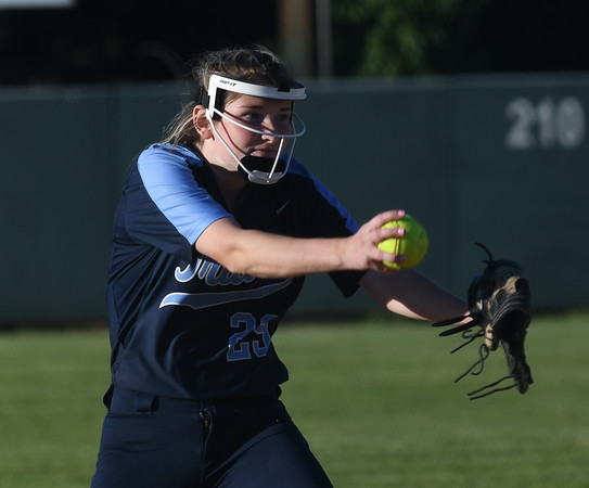 JIM VAIKNORAS/Staff photo Triton pitcher Katharine Quigley against Arlington Catholic at Martin Field in Lowell.