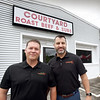BRYAN EATON/Staff Photo. Partners Jeff Loewen, left, and Peter Nikolakopoulos have bought Courtyard Roast Beef and will be remodeling the building and renaming it Pomodori.