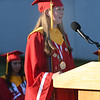 JIM VAIKNORAS/Staff photo Salutatorian Kyra Trippe gives her address at Amesbury's graduation at Landry Stadium for  Friday night.