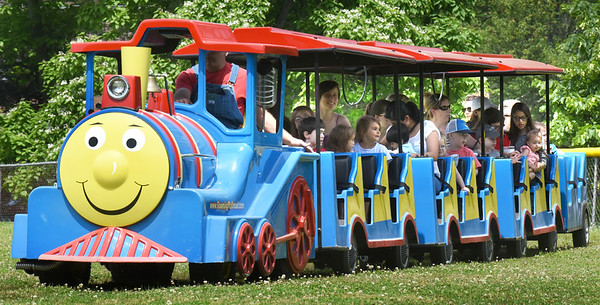 BRYAN EATON/Staff Photo. The model railroad train is always a hit with children at Amesbury Days' Kids Day in the Park.