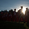 JIM VAIKNORAS/Staff photo Amesbury High School seniors make their way into Landry Stadium for Graduation Friday night.