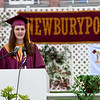 JIM VAIKNORAS/Staff photo Jillian Gray gives her Salutatory Address at World War Memorial Stadium in Newburyport Sunday .