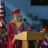 JIM VAIKNORAS/Staff photo Valedictorian Eleanor Costello gives her address at Amesbury's graduation at Landry Stadium for  Friday night.