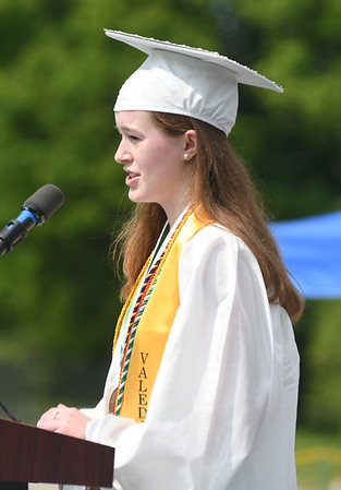 JIM VAIKNORAS/Staff photo Pentucket Valedictorian Allison Brookhart gives her address at Commencement Saturday morning.