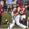 BRYAN EATON/Staff Photo. Newburyport's Thomas Murphy swings for a single.