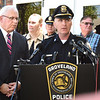 BRYAN EATON/Staff Photo. Essex County District Attorney Jonanthan Blodgett, left, and Groveland Police Chief Jeff Gillen hold a press conference about the arrest of Leedell Graham for the murder of Groveland resident Patsy Schena.