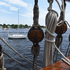 BRYAN EATON/Staff Photo. Sailboats in the Merrimack River are dwarfed by the Nao Santa Maria.