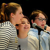 "BRYAN EATON/Staff Photo. Performing ""Better When I'm Dancing"" by artist Meghan Trainor, are, from left, Madison Hamlin, Hannah Barter and Sydney Ward, all 12. They were performing at the  Pine Grove School in Rowley where the sixth-graders held a talent show on Wednesday for the rest of the school."