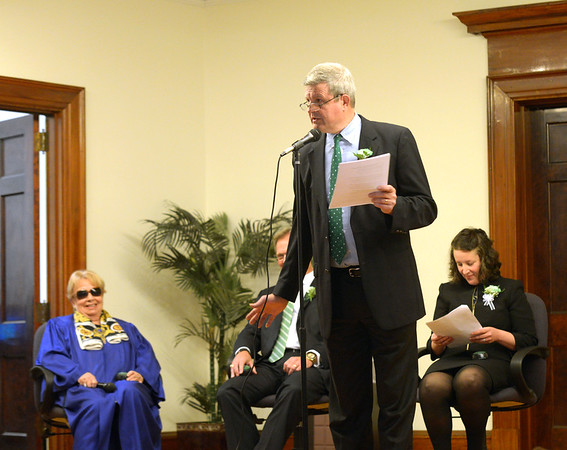 JIM VAIKNORAS/Staff photo Salisbury Town Manager Neil Harrington, performs during Irish Idol at the Link House Inc's 15th annual St. Patrick' Day Luncheon at the Masonic Temple in Newburyport Friday.