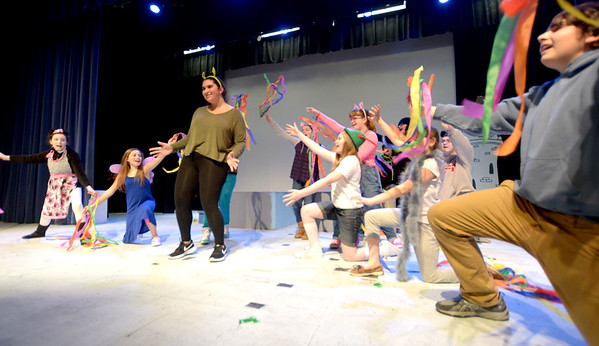 JIM VAIKNORAS/Staff photo Adrianna Deeb as Shrek and the cast rehearse for the Triton Middle School production of Shrek Jr. Show times are Saturday March 11, at 3pm and 7PM at the Triton high school auditorium.