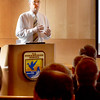 BRYAN EATON/Staff photo. Thomas C. Anderson from the Executive Office of Energy and Environmental Affairs addresses those in attendance at the Parker River National Wildlife Headquarters on Tuesday morning. The meeting hosted buy state Sen. Kathleen O'Connor Ives dealt with tax credits to those who donate land for public use.
