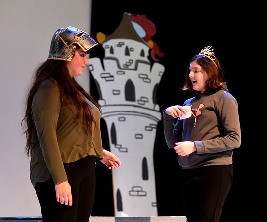 JIM VAIKNORAS/Staff photo Adrianna Deeb as Shrek and Vivian Beauvais as Fiona rehearse for the Triton Middle School production of Shrek Jr. Show times are Saturday March 11, at 3pm and 7PM at the Triton high school auditorium.