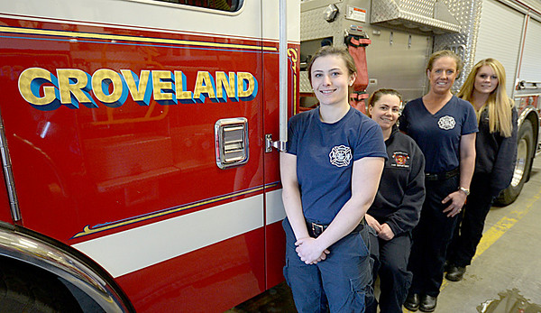 JIM VAIKNORAS/Staff photo Four new firefighter in Groveland will be graduating Monday night  from call/volunteer firefighting training program run by the state. from the right Courtney Panaro, Alyssa Bosh, Jennifer Hicks, and Megan Shea.