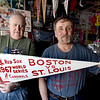 BRYAN EATON/Staff photo. Ed Power, left, and Jim Deboisbriand with a pennant from 1967.