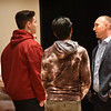 BRYAN EATON/Staff photo. Amesbury High athlete and graduate Jamey Mroz, who now works for the Cleveland Browns football team, talks to students after giving motivational speech on Tuesday morning.
