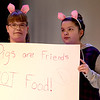 JIM VAIKNORAS/Staff photo Marena Crivello and Morgan Shorey as 2/3rds of the Three Little Pigs rehearse for the Triton Middle School production of Shrek Jr. Show times are Saturday March 11, at 3pm and 7PM at the Triton high school auditorium.